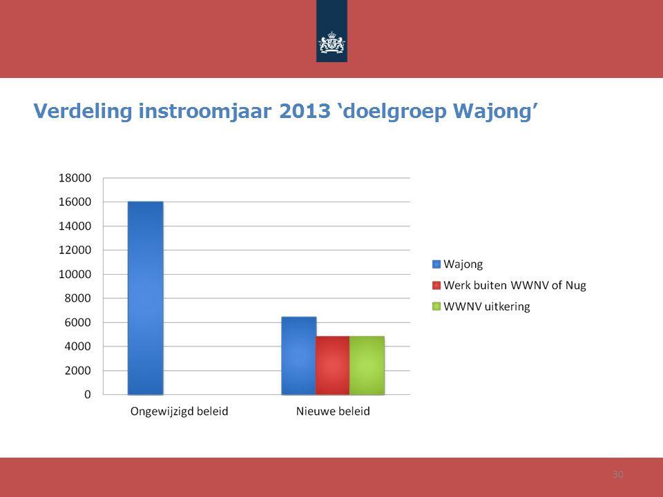 30 Verdeling instroomjaar 2013 'doelgroep Wajong'