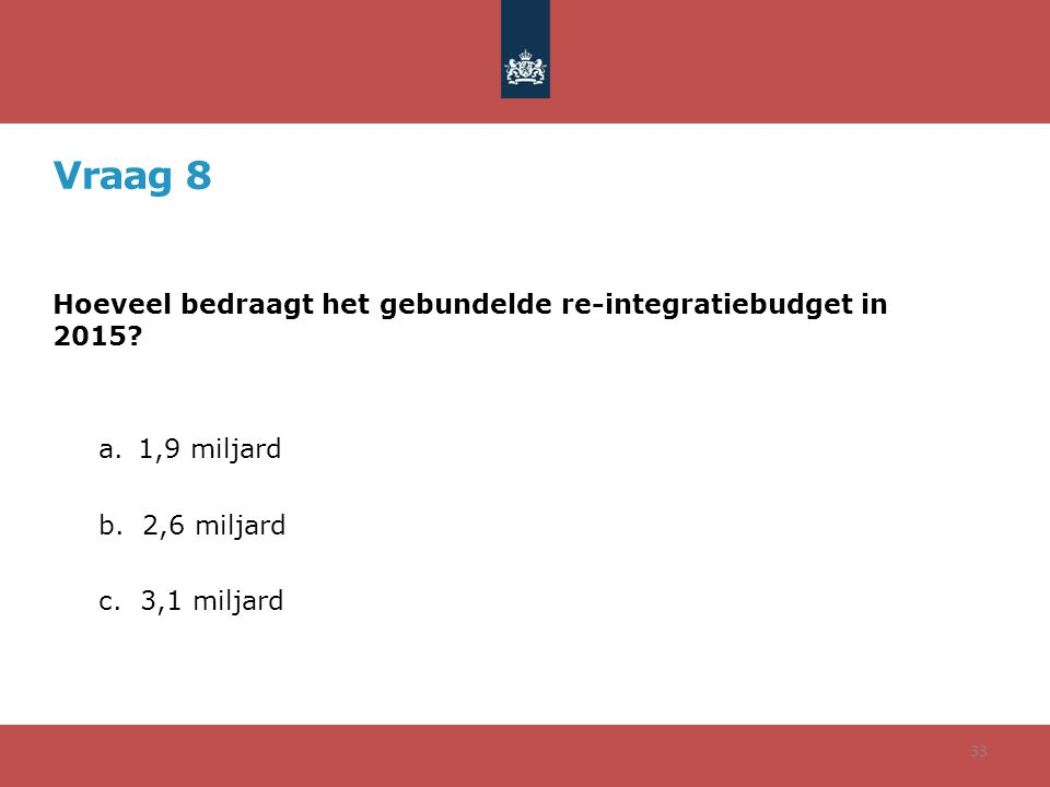 Vraag 8 Hoeveel bedraagt het gebundelde re-integratiebudget in 2015? a.1,9 miljard b. 2,6 miljard c. 3,1 miljard 33