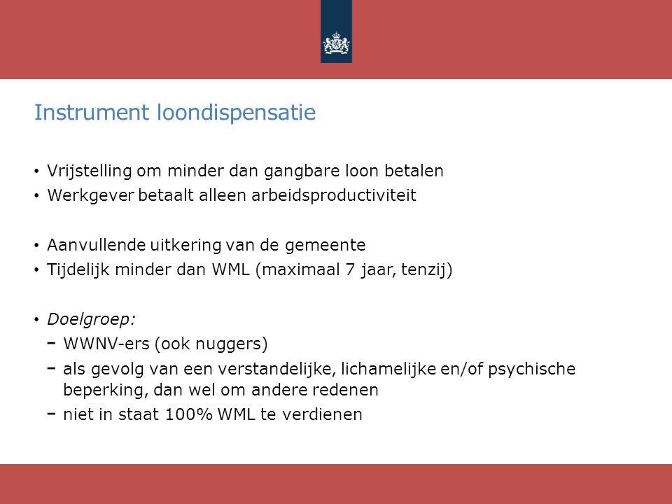 Instrument loondispensatie Vrijstelling om minder dan gangbare loon betalen Werkgever betaalt alleen arbeidsproductiviteit Aanvullende uitkering van d