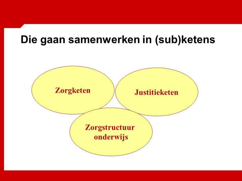Die gaan samenwerken in (sub)ketens Zorgketen Justitieketen Zorgstructuur onderwijs