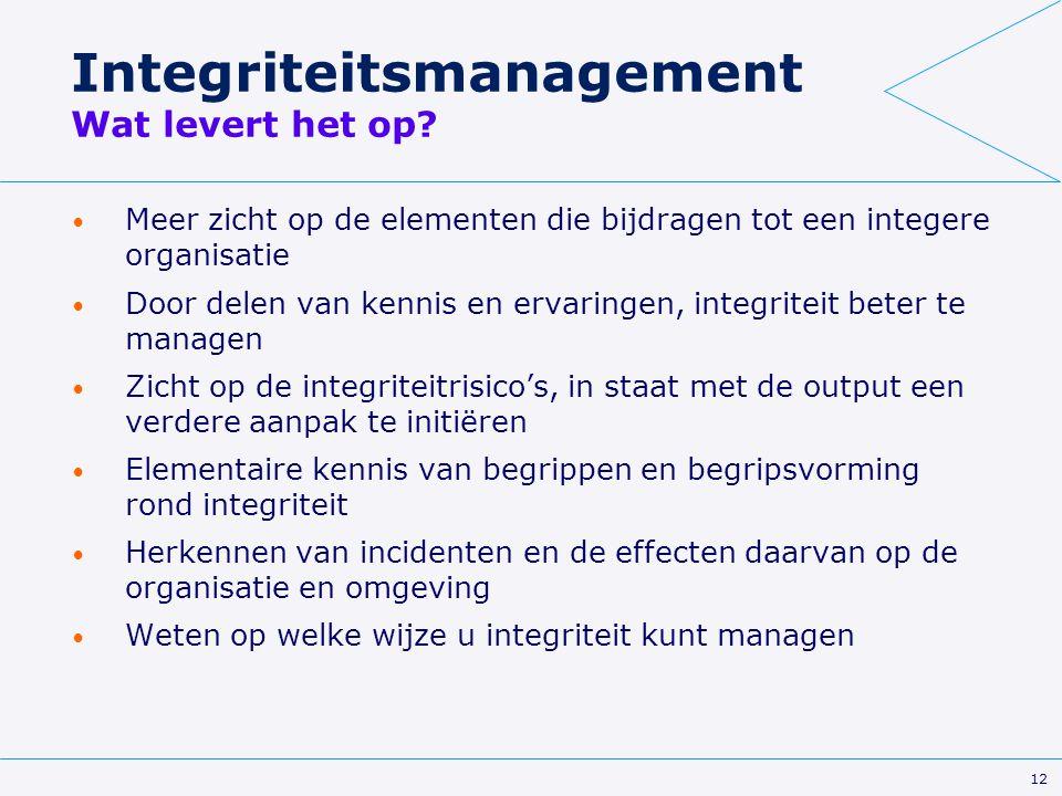 12 Integriteitsmanagement Wat levert het op? Meer zicht op de elementen die bijdragen tot een integere organisatie Door delen van kennis en ervaringen