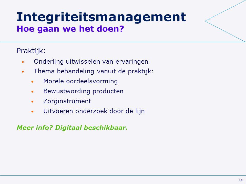 14 Integriteitsmanagement Hoe gaan we het doen? Praktijk: Onderling uitwisselen van ervaringen Thema behandeling vanuit de praktijk: Morele oordeelsvo