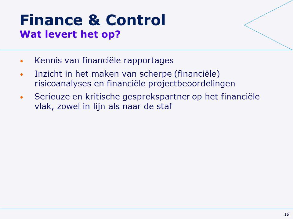 15 Finance & Control Wat levert het op? Kennis van financiële rapportages Inzicht in het maken van scherpe (financiële) risicoanalyses en financiële p