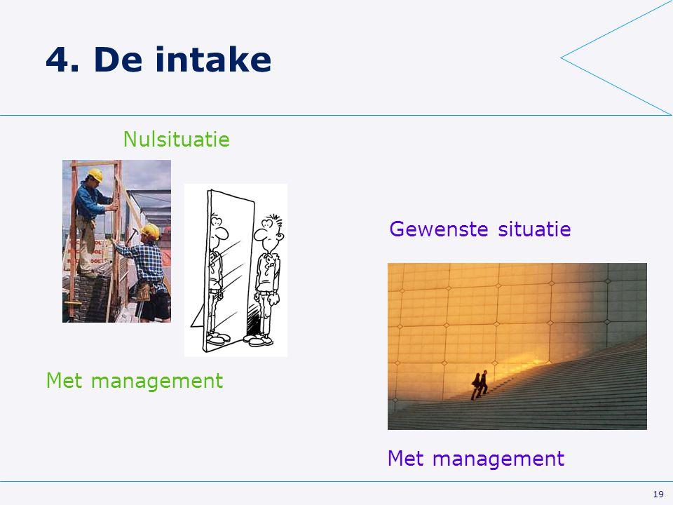 19 4. De intake Met management Nulsituatie Gewenste situatie