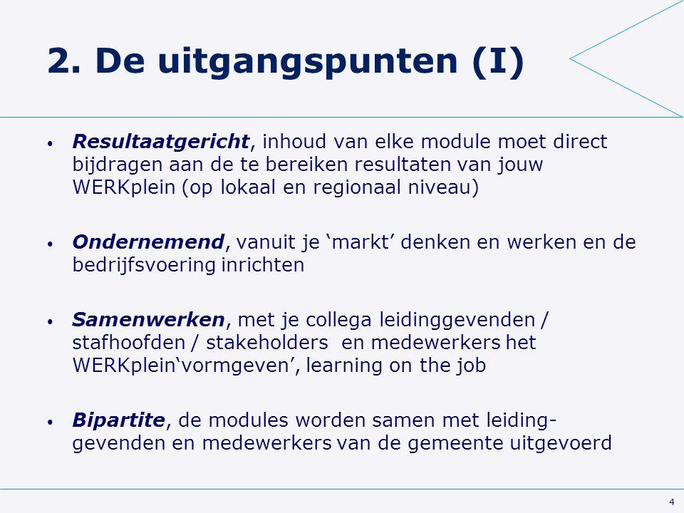 4 2. De uitgangspunten (I) Resultaatgericht, inhoud van elke module moet direct bijdragen aan de te bereiken resultaten van jouw WERKplein (op lokaal