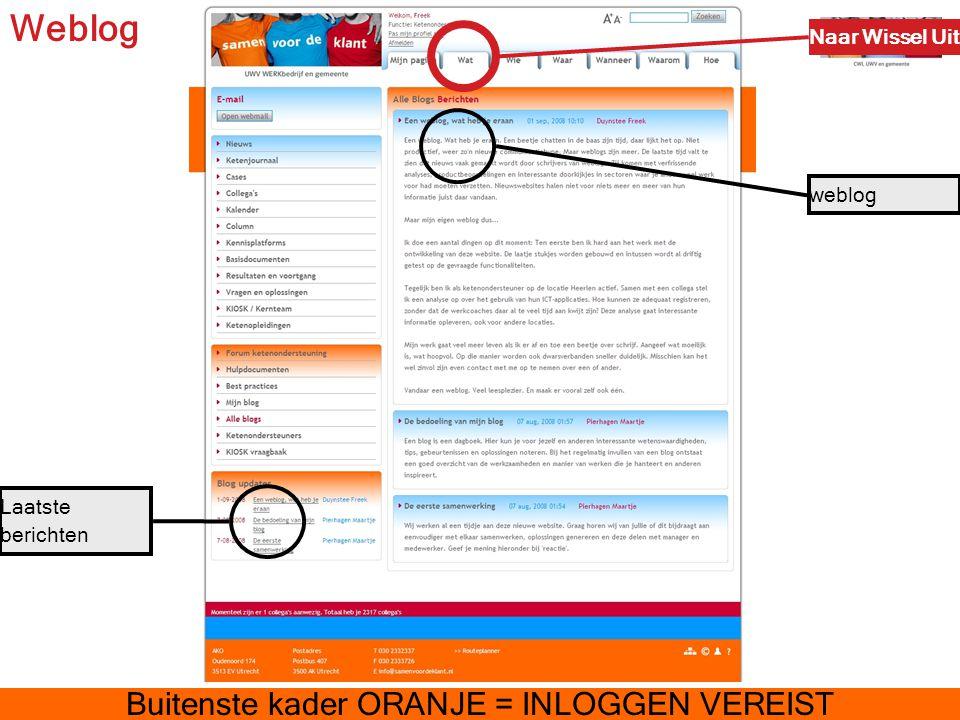 Weblog Naar Wissel Uit weblog Laatste berichten Buitenste kader ORANJE = INLOGGEN VEREIST