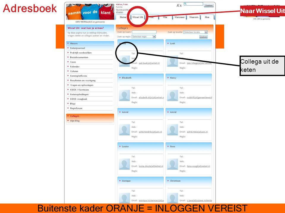 Adresboek Collega uit de keten Naar Wissel Uit Buitenste kader ORANJE = INLOGGEN VEREIST