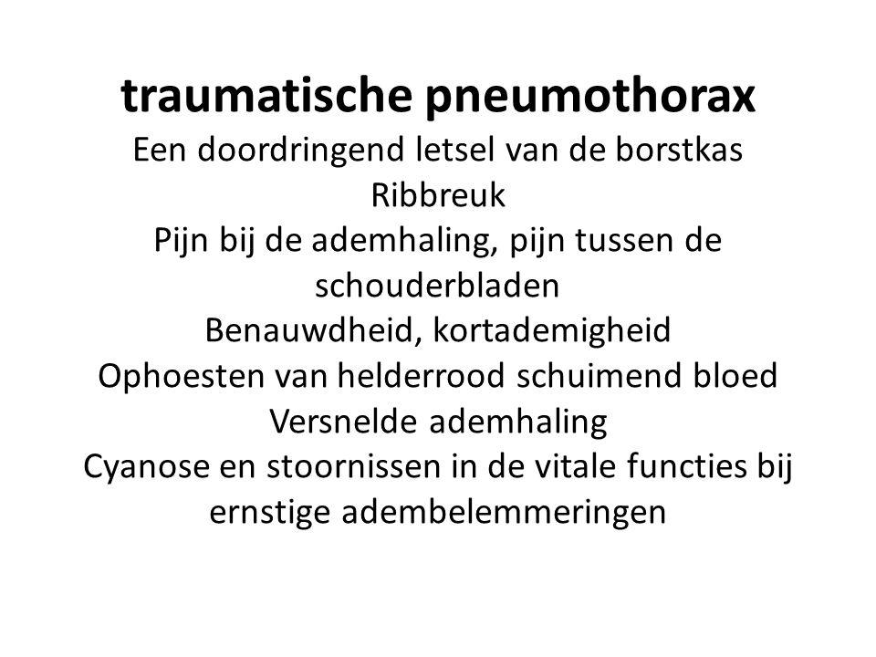 traumatische pneumothorax Een doordringend letsel van de borstkas Ribbreuk Pijn bij de ademhaling, pijn tussen de schouderbladen Benauwdheid, kortadem