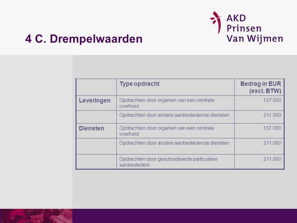 5 (1) Mogelijke procedures Welke procedures komen in aanmerking voor de Wmo: 2B-procedure Openbare procedure Niet-openbare procedure Dynamisch aankoopsysteem