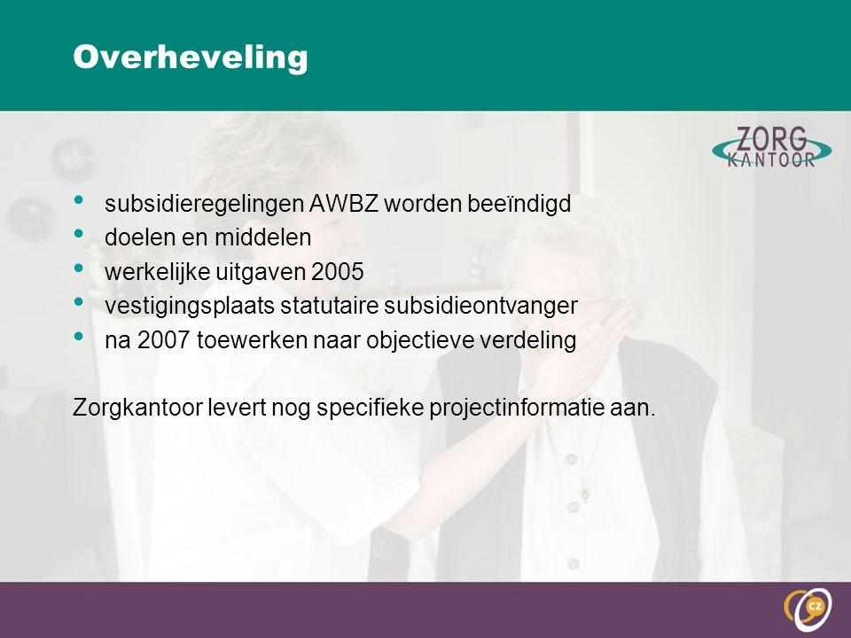 Overheveling subsidieregelingen AWBZ worden beeïndigd doelen en middelen werkelijke uitgaven 2005 vestigingsplaats statutaire subsidieontvanger na 2007 toewerken naar objectieve verdeling Zorgkantoor levert nog specifieke projectinformatie aan.