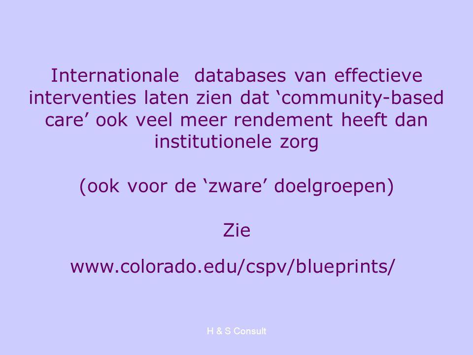 H & S Consult Internationale databases van effectieve interventies laten zien dat 'community-based care' ook veel meer rendement heeft dan institution