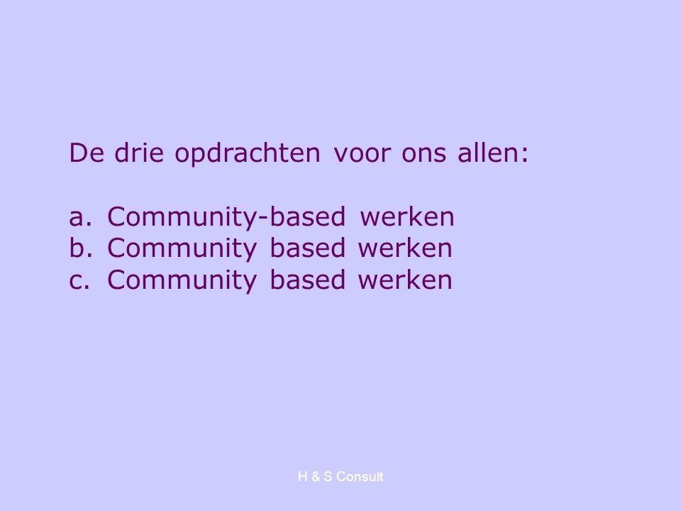 H & S Consult De drie opdrachten voor ons allen: a.Community-based werken b.Community based werken c.Community based werken
