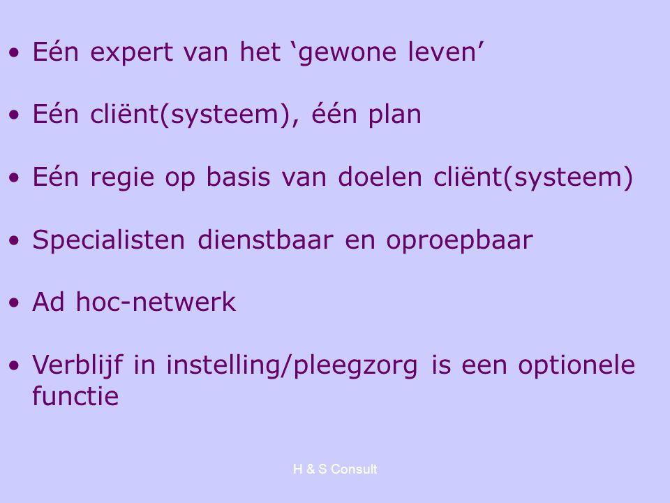 H & S Consult Eén expert van het 'gewone leven' Eén cliënt(systeem), één plan Eén regie op basis van doelen cliënt(systeem) Specialisten dienstbaar en