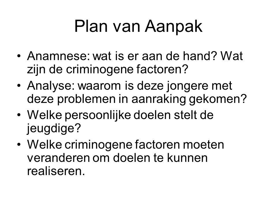 Plan van Aanpak Anamnese: wat is er aan de hand? Wat zijn de criminogene factoren? Analyse: waarom is deze jongere met deze problemen in aanraking gek