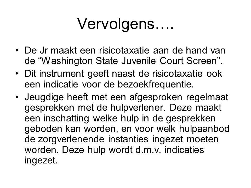 """Vervolgens…. De Jr maakt een risicotaxatie aan de hand van de """"Washington State Juvenile Court Screen"""". Dit instrument geeft naast de risicotaxatie oo"""