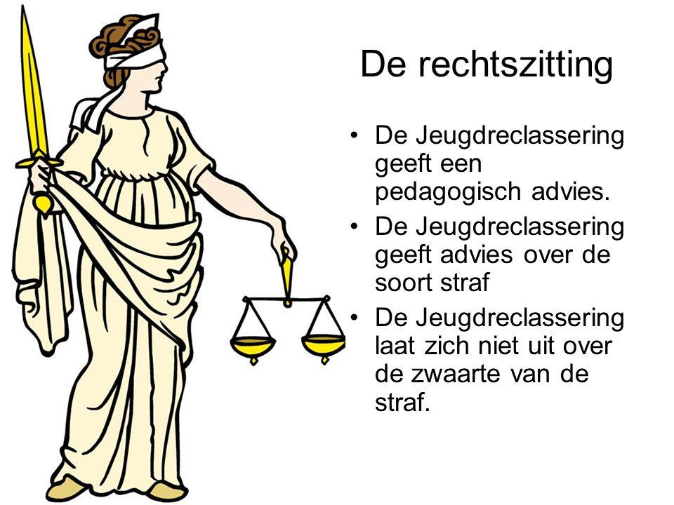 De rechtszitting De Jeugdreclassering geeft een pedagogisch advies. De Jeugdreclassering geeft advies over de soort straf De Jeugdreclassering laat zi