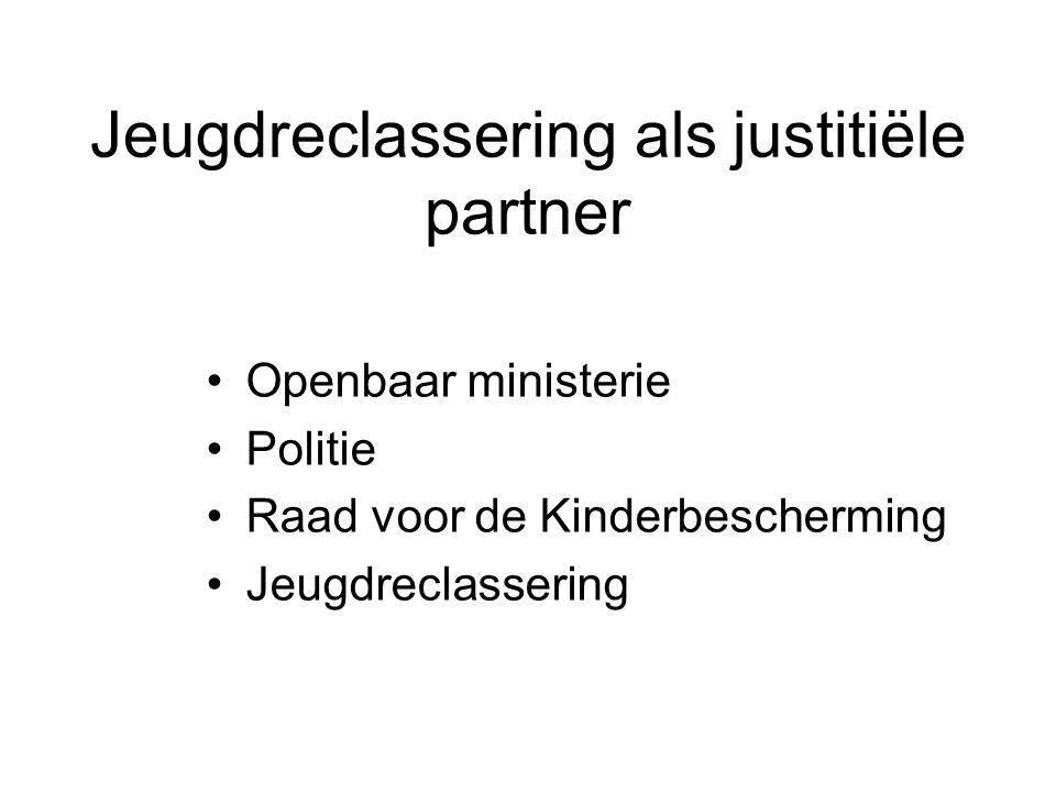 Jeugdreclassering als justitiële partner Openbaar ministerie Politie Raad voor de Kinderbescherming Jeugdreclassering