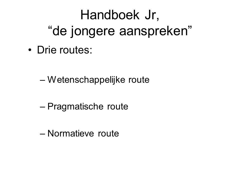 """Handboek Jr, """"de jongere aanspreken"""" Drie routes: –W–Wetenschappelijke route –P–Pragmatische route –N–Normatieve route"""
