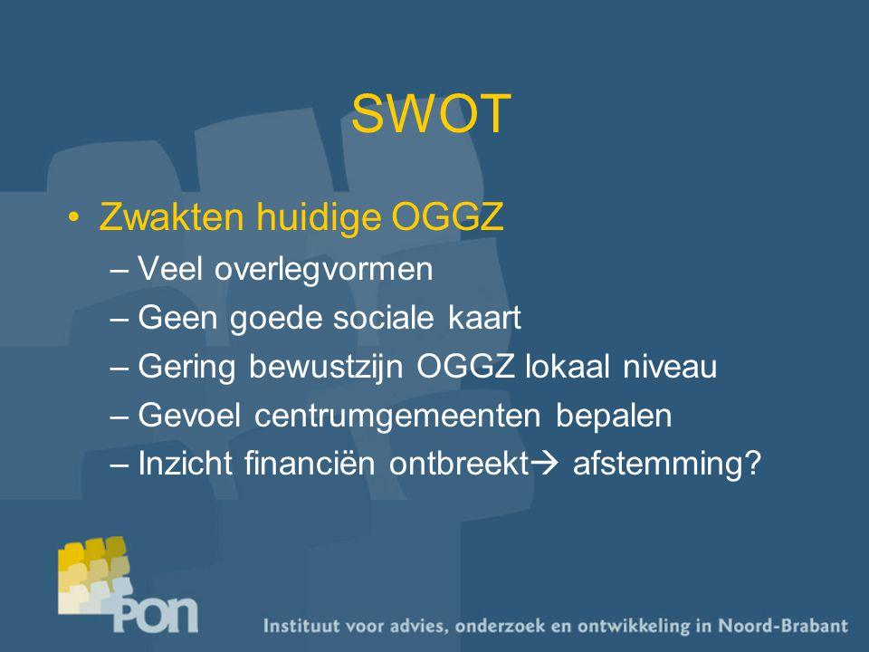 SWOT Zwakten huidige OGGZ –Veel overlegvormen –Geen goede sociale kaart –Gering bewustzijn OGGZ lokaal niveau –Gevoel centrumgemeenten bepalen –Inzicht financiën ontbreekt  afstemming?