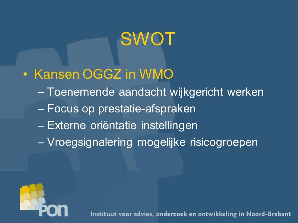 SWOT Kansen OGGZ in WMO –Toenemende aandacht wijkgericht werken –Focus op prestatie-afspraken –Externe oriëntatie instellingen –Vroegsignalering mogelijke risicogroepen