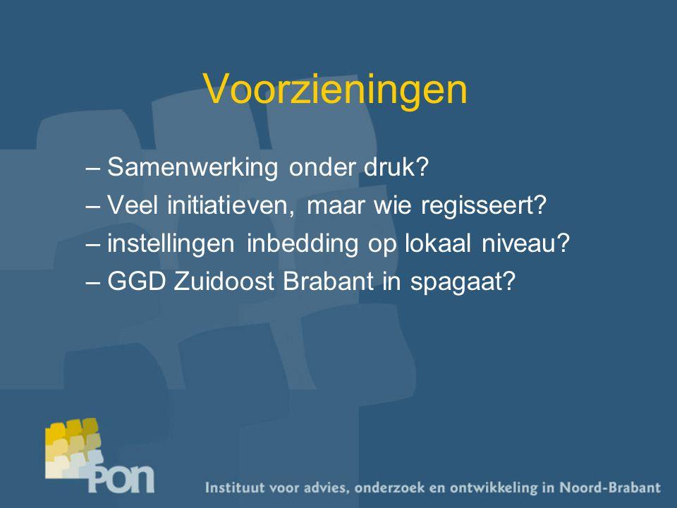 Voorzieningen –Samenwerking onder druk? –Veel initiatieven, maar wie regisseert? –instellingen inbedding op lokaal niveau? –GGD Zuidoost Brabant in sp
