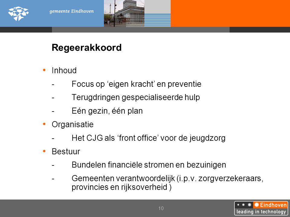 10 Regeerakkoord Inhoud -Focus op 'eigen kracht' en preventie -Terugdringen gespecialiseerde hulp -Eén gezin, één plan Organisatie -Het CJG als 'front