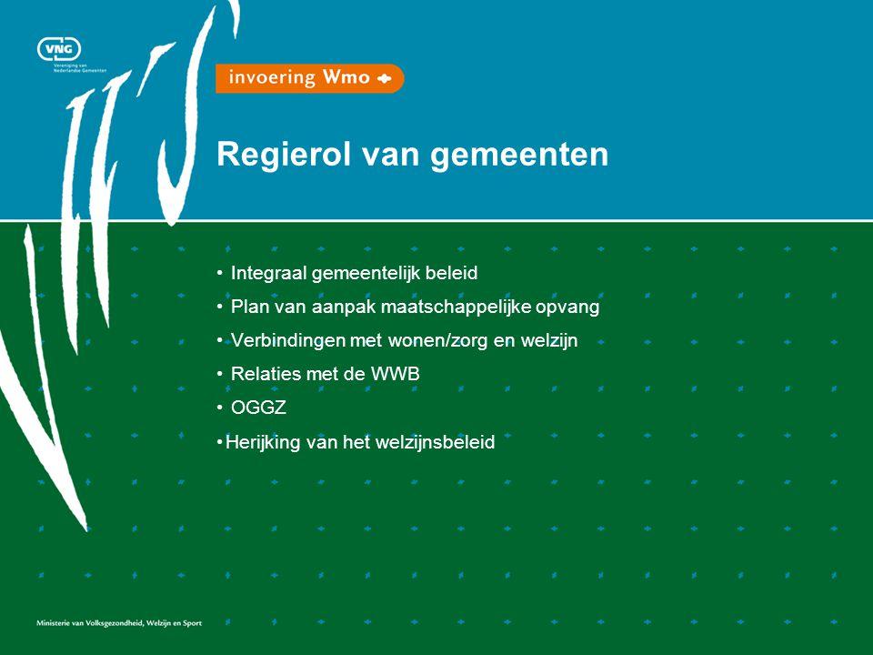 Regierol van gemeenten Integraal gemeentelijk beleid Plan van aanpak maatschappelijke opvang Verbindingen met wonen/zorg en welzijn Relaties met de WWB OGGZ Herijking van het welzijnsbeleid