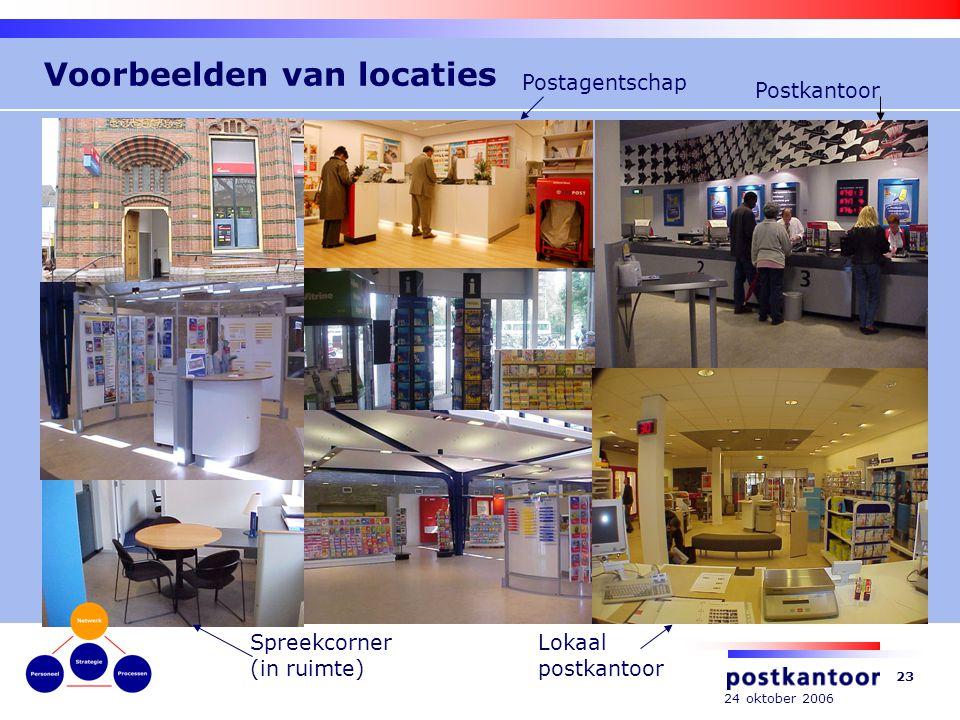 24 oktober 2006 23 Voorbeelden van locaties Lokaal postkantoor Spreekcorner (in ruimte) Postagentschap Postkantoor
