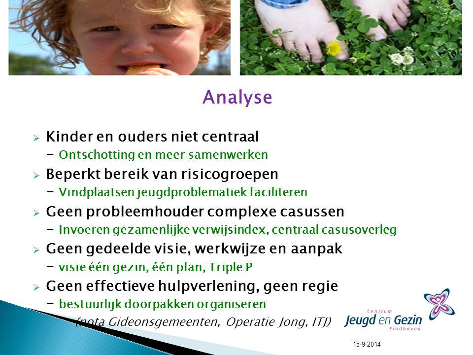 Analyse  Kinder en ouders niet centraal - Ontschotting en meer samenwerken  Beperkt bereik van risicogroepen - Vindplaatsen jeugdproblematiek facili