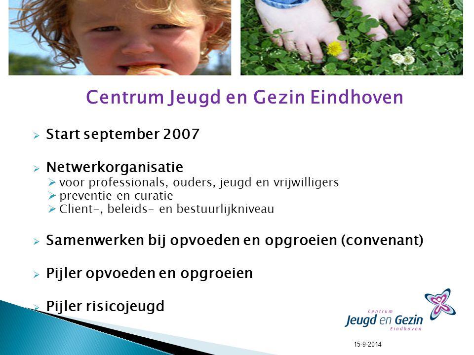 Centrum Jeugd en Gezin Eindhoven  Start september 2007  Netwerkorganisatie  voor professionals, ouders, jeugd en vrijwilligers  preventie en curatie  Client-, beleids- en bestuurlijkniveau  Samenwerken bij opvoeden en opgroeien (convenant)  Pijler opvoeden en opgroeien  Pijler risicojeugd 15-9-2014