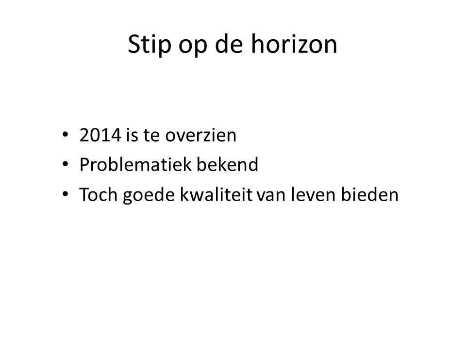 Stip op de horizon 2014 is te overzien Problematiek bekend Toch goede kwaliteit van leven bieden