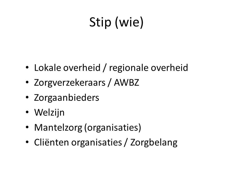 Stip (wie) Lokale overheid / regionale overheid Zorgverzekeraars / AWBZ Zorgaanbieders Welzijn Mantelzorg (organisaties) Cliënten organisaties / Zorgbelang
