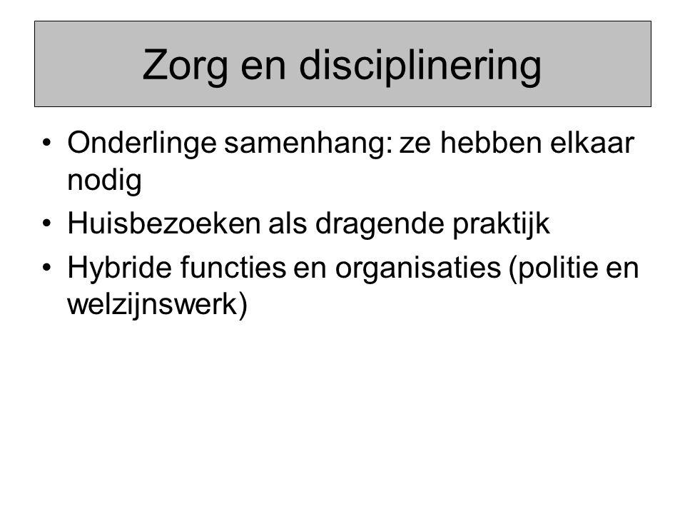 Zorg en disciplinering Onderlinge samenhang: ze hebben elkaar nodig Huisbezoeken als dragende praktijk Hybride functies en organisaties (politie en welzijnswerk)