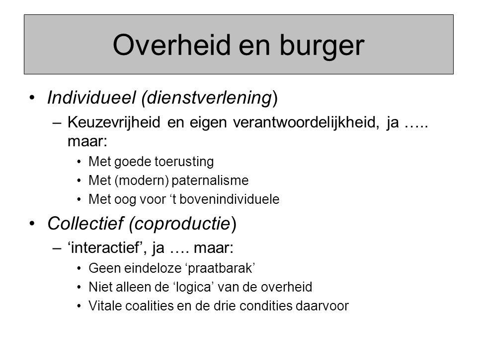 Overheid en burger Individueel (dienstverlening) –Keuzevrijheid en eigen verantwoordelijkheid, ja ….. maar: Met goede toerusting Met (modern) paternal