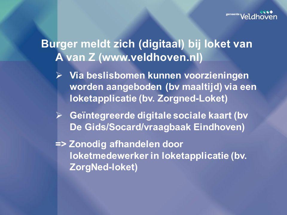 Burger meldt zich (digitaal) bij loket van A van Z (www.veldhoven.nl)  Via beslisbomen kunnen voorzieningen worden aangeboden (bv maaltijd) via een l