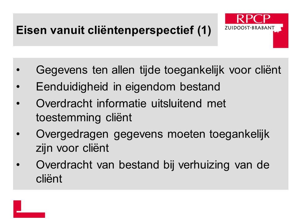 Eisen vanuit cliëntenperspectief (1) Gegevens ten allen tijde toegankelijk voor cliënt Eenduidigheid in eigendom bestand Overdracht informatie uitslui