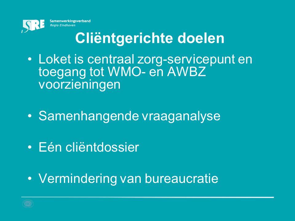 Cliëntgerichte doelen Loket is centraal zorg-servicepunt en toegang tot WMO- en AWBZ voorzieningen Samenhangende vraaganalyse Eén cliëntdossier Vermin