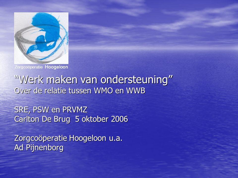 Werk maken van ondersteuning Over de relatie tussen WMO en WWB SRE, PSW en PRVMZ Carlton De Brug 5 oktober 2006 Zorgcoöperatie Hoogeloon u.a.