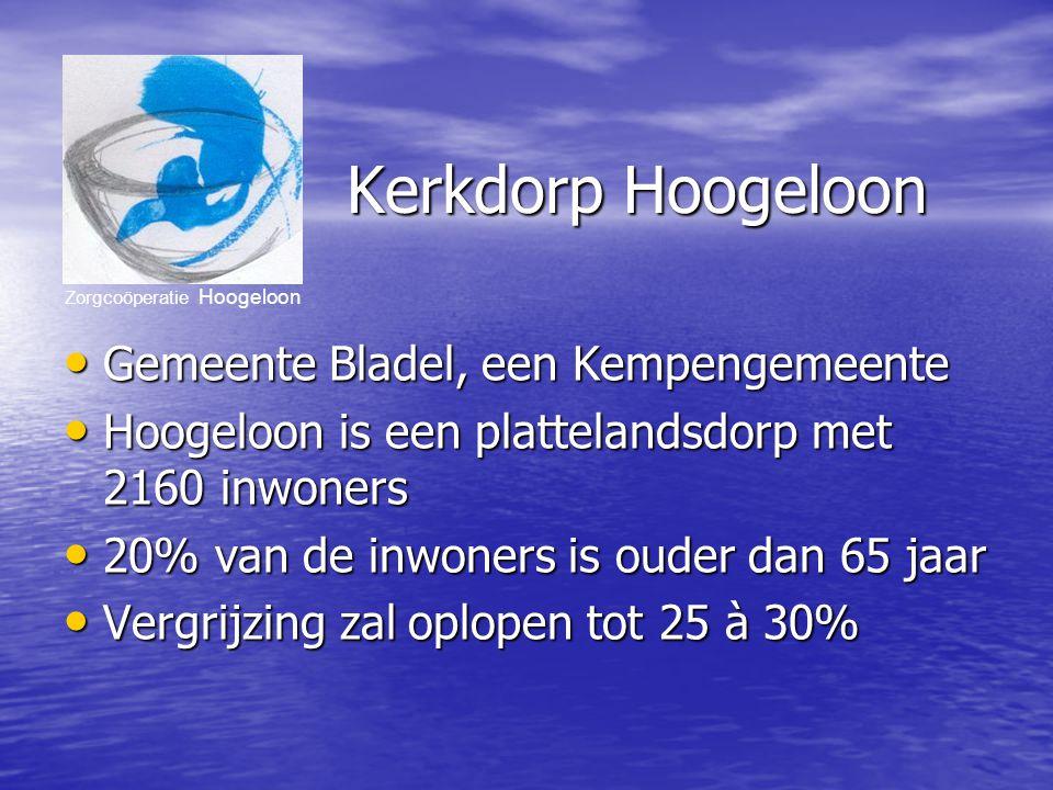 Zorgcoöperatie Hoogeloon Kerkdorp Hoogeloon Gemeente Bladel, een Kempengemeente Gemeente Bladel, een Kempengemeente Hoogeloon is een plattelandsdorp met 2160 inwoners Hoogeloon is een plattelandsdorp met 2160 inwoners 20% van de inwoners is ouder dan 65 jaar 20% van de inwoners is ouder dan 65 jaar Vergrijzing zal oplopen tot 25 à 30% Vergrijzing zal oplopen tot 25 à 30%