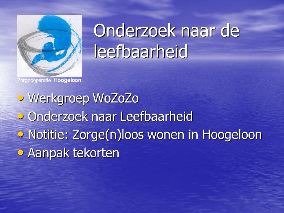Zorgcoöperatie Hoogeloon Onderzoek naar de leefbaarheid Werkgroep WoZoZo Werkgroep WoZoZo Onderzoek naar Leefbaarheid Onderzoek naar Leefbaarheid Notitie: Zorge(n)loos wonen in Hoogeloon Notitie: Zorge(n)loos wonen in Hoogeloon Aanpak tekorten Aanpak tekorten