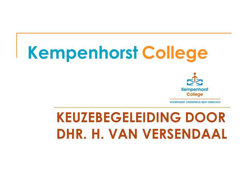 Kempenhorst College KEUZEBEGELEIDING DOOR DHR. H. VAN VERSENDAAL