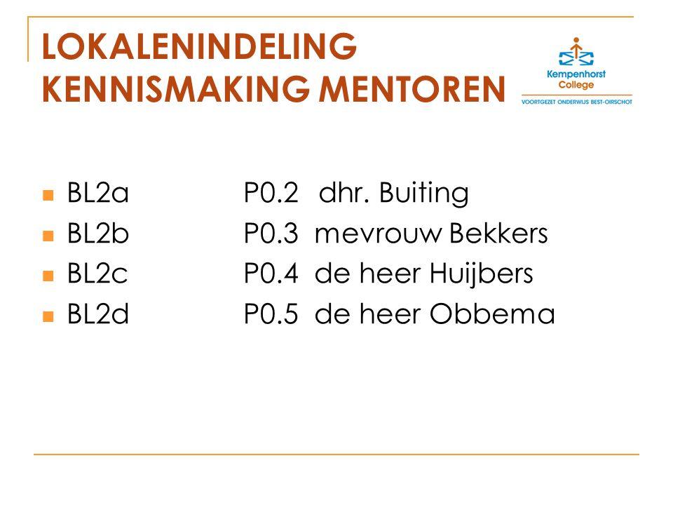 LOKALENINDELING KENNISMAKING MENTOREN BL2aP0.2 dhr.