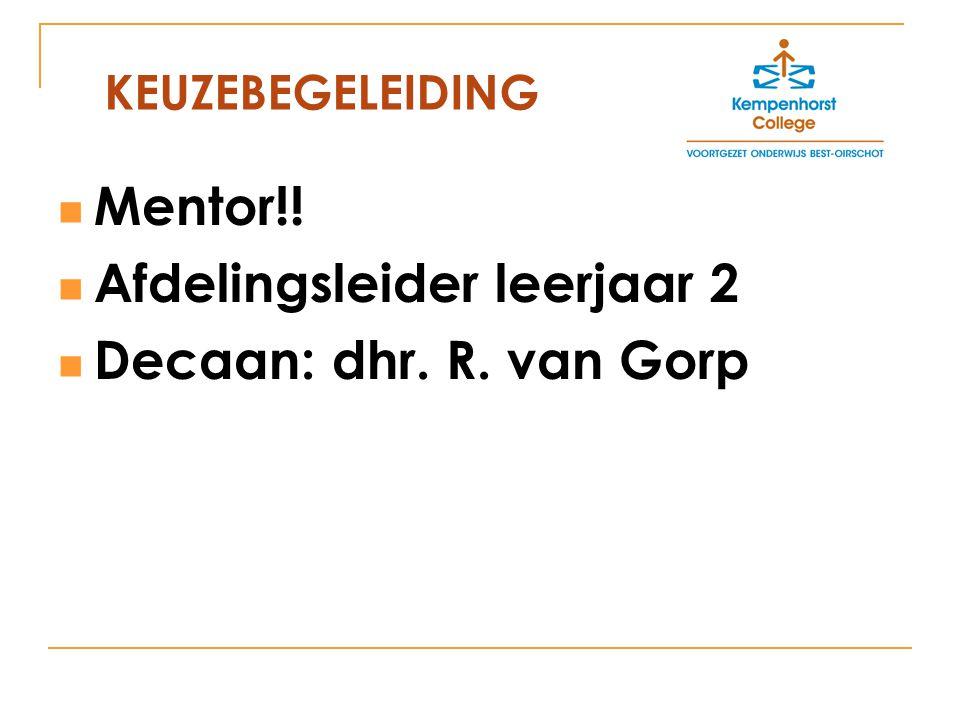 Mentor!! Afdelingsleider leerjaar 2 Decaan: dhr. R. van Gorp KEUZEBEGELEIDING