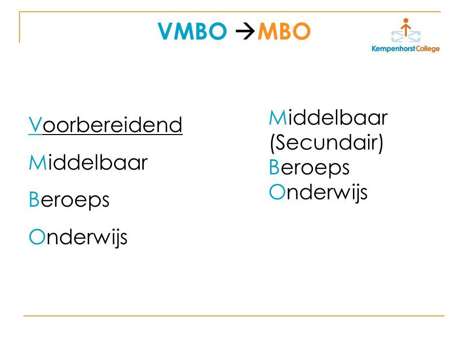 VMBO  MBO Voorbereidend Middelbaar Beroeps Onderwijs Middelbaar (Secundair) Beroeps Onderwijs
