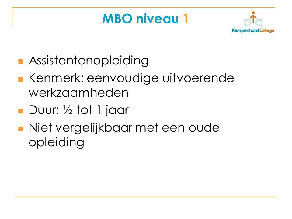 MBO niveau 2 Basisberoepsopleiding (vroeger KMBO/ primair Leerlingwezen) Kenmerk: uitvoerende werkzaamheden Duur 2 tot 3 jaar Te vergelijken met MTS-, VZ-, Horeca-kort, 2 jarig Leerlingwezen