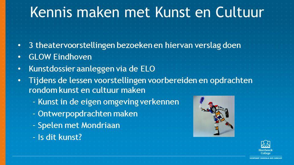 Kennis maken met Kunst en Cultuur 3 theatervoorstellingen bezoeken en hiervan verslag doen GLOW Eindhoven Kunstdossier aanleggen via de ELO Tijdens de