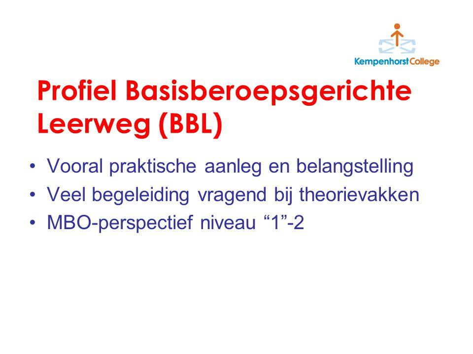 Profiel Kaderberoepsgerichte leerweg (KBL) Bovengemiddelde theoretische aanleg Zin in leren Attitude:-concentratie -werkdiscipline -zelfstandigheid MBO-perspectief niveau 3-4