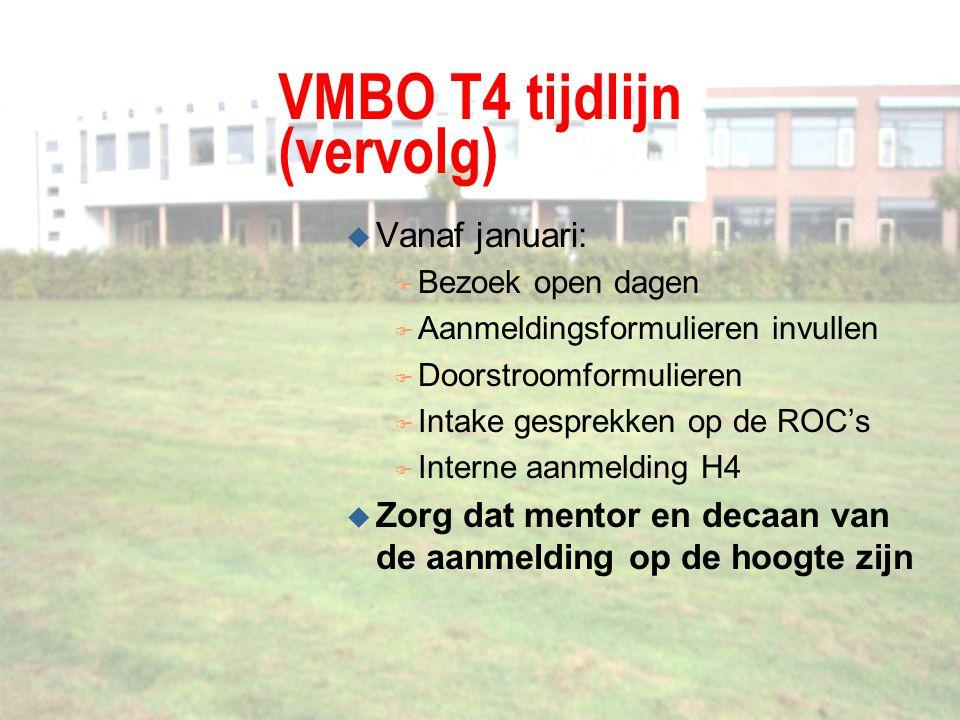 VMBO T4 tijdlijn (vervolg) u Vanaf januari: F Bezoek open dagen F Aanmeldingsformulieren invullen F Doorstroomformulieren F Intake gesprekken op de RO
