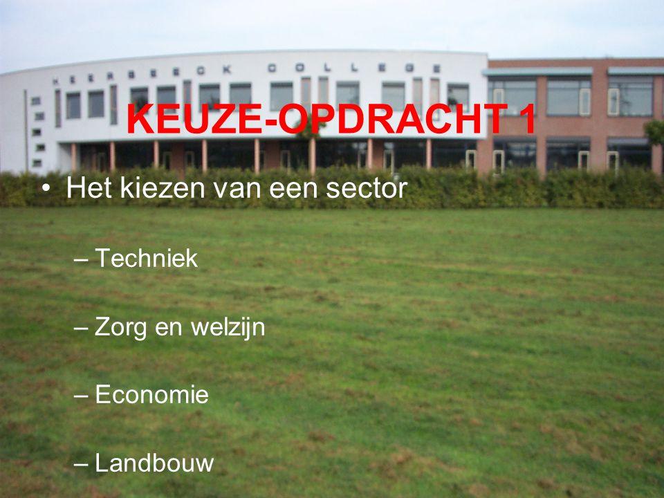 KEUZE-OPDRACHT 1 Het kiezen van een sector –Techniek –Zorg en welzijn –Economie –Landbouw