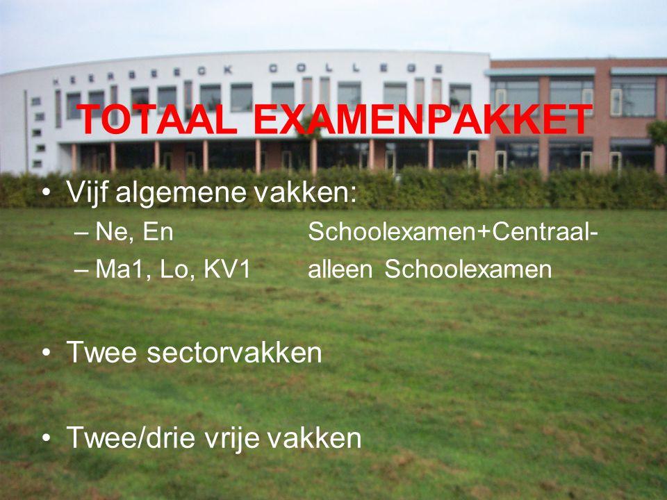 TOTAAL EXAMENPAKKET Vijf algemene vakken: –Ne, EnSchoolexamen+Centraal- –Ma1, Lo, KV1alleen Schoolexamen Twee sectorvakken Twee/drie vrije vakken